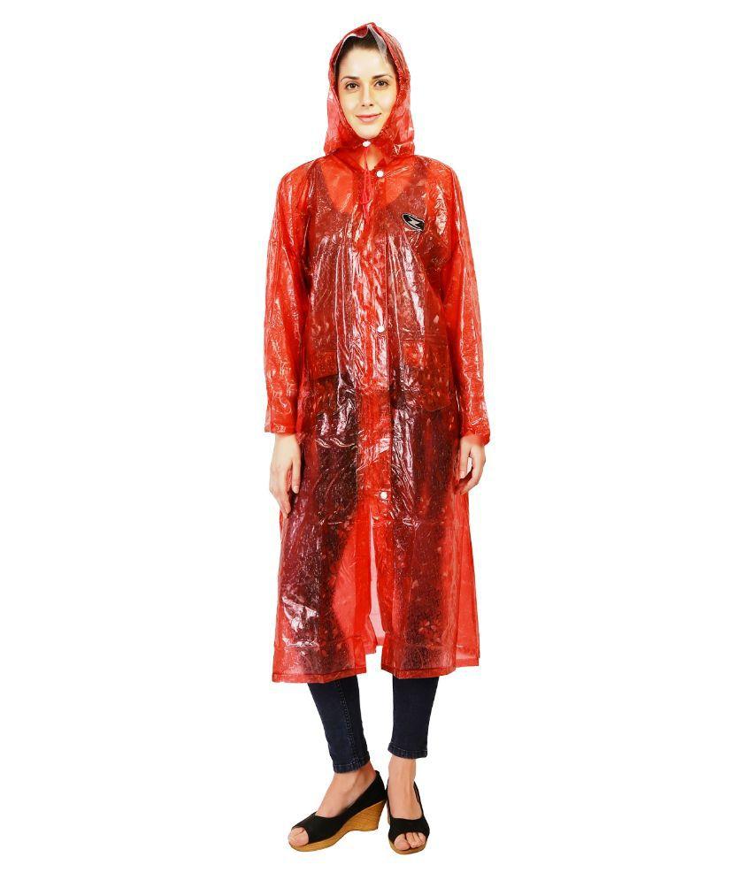 Zeel Maroon Solid Long Raincoat