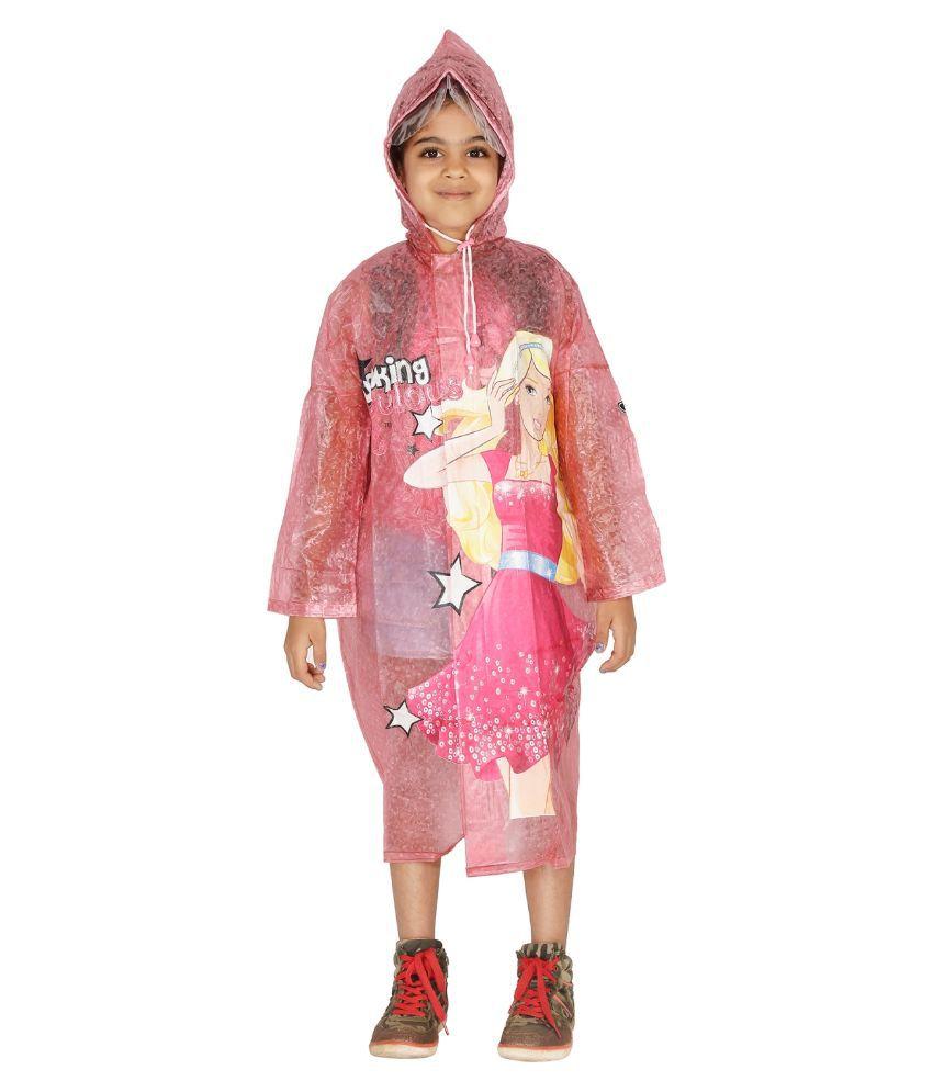 Zeel Pink Viscose Raincoat For Girls
