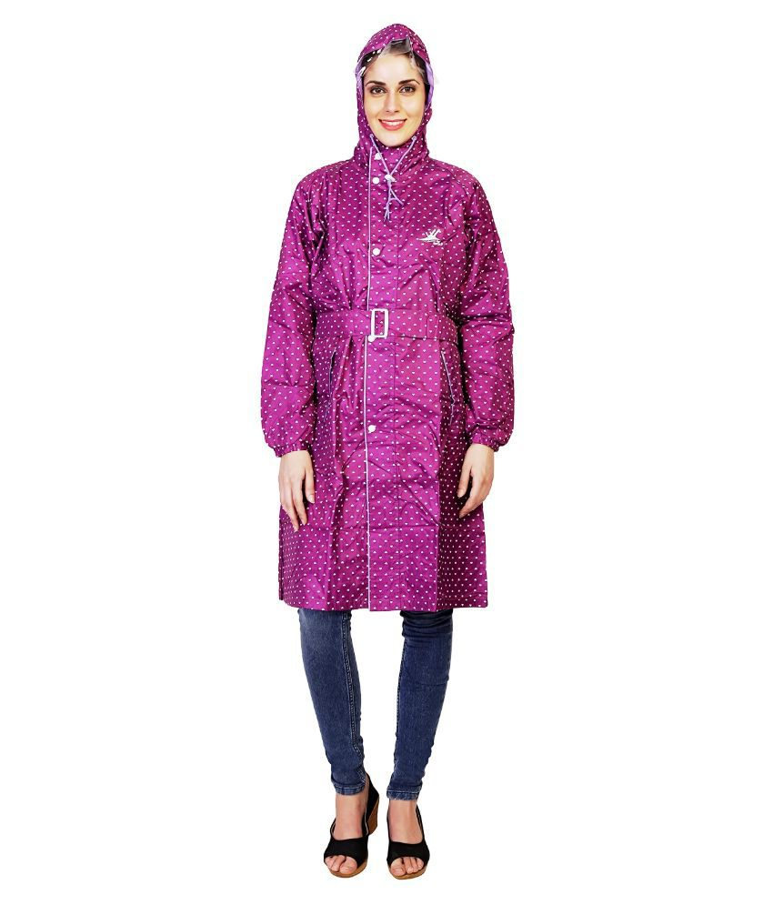 Zeel Purple Printed Raincoat  For Women