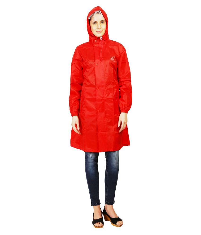Zeel Red Solid Long Raincoat