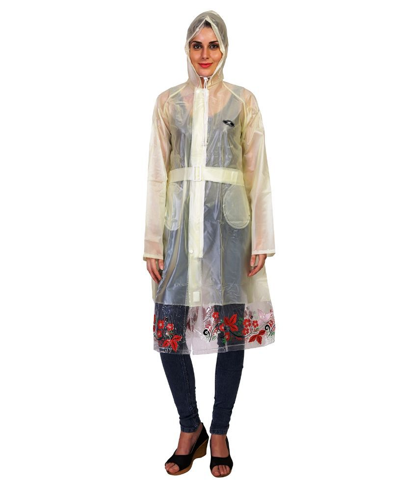 Zeel White Waterproof Long Raincoat