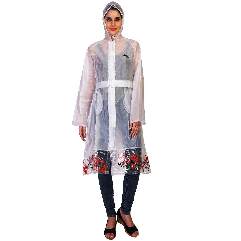 Zeel White Waterproof Long Raincoat