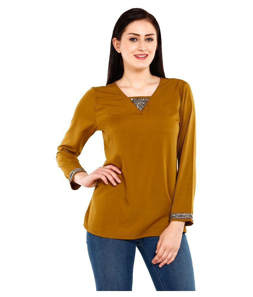 ba8a25f1a86 Mustard Yellow Poly Crepe Tops - Buy Mustard Yellow Poly Crepe Tops Online  at Best Prices in India on Snapdeal