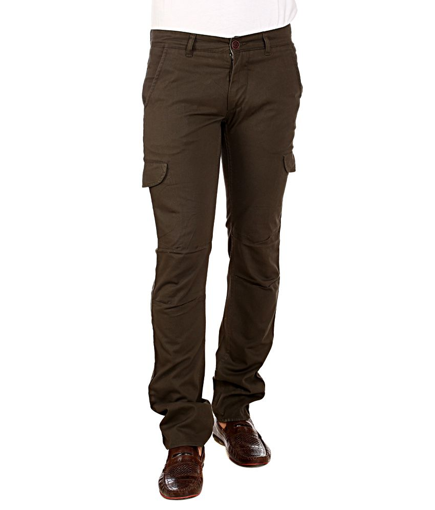 Red Tape Brown Slim Fit Cargos