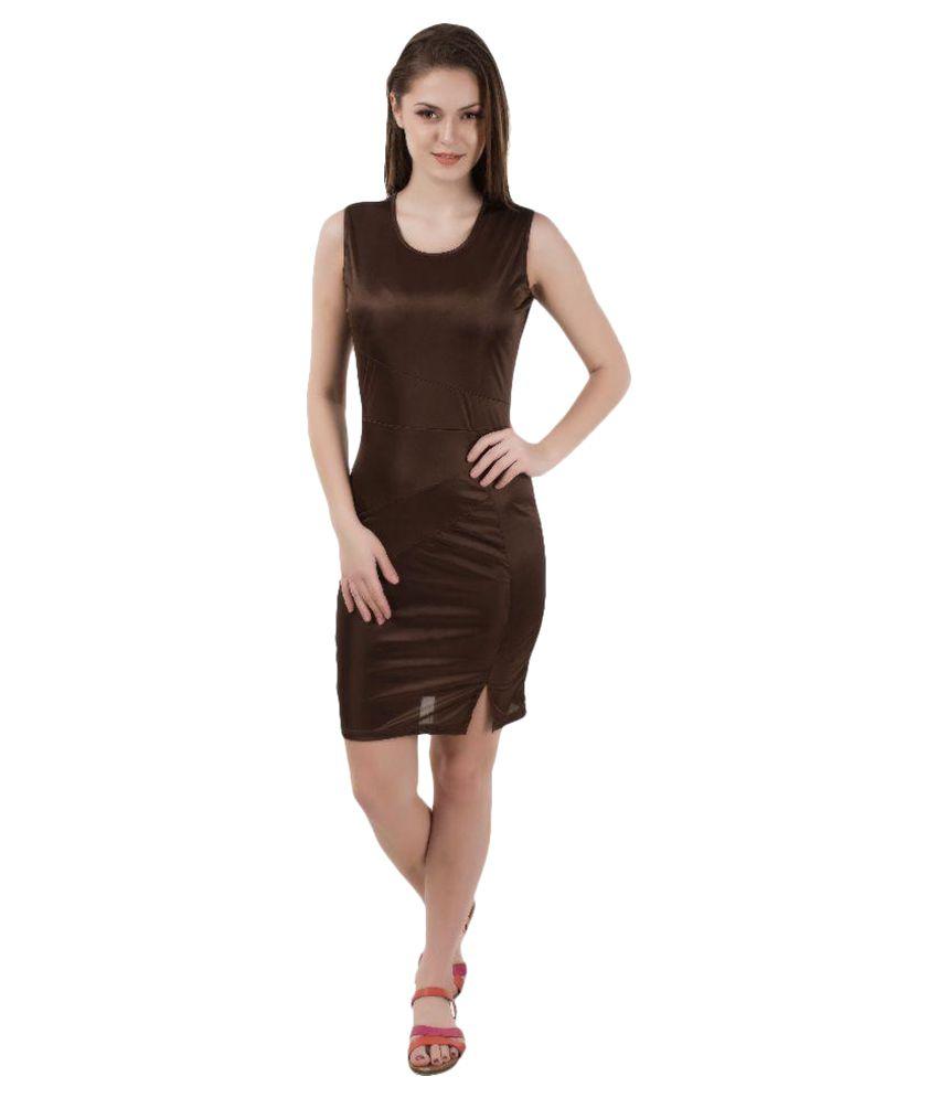 Shoprillo Brown Lycra Nighty & Night Gowns