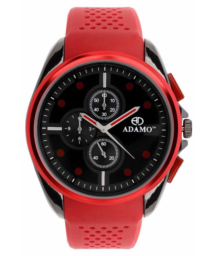 Adamo Red Analog Watch For Men