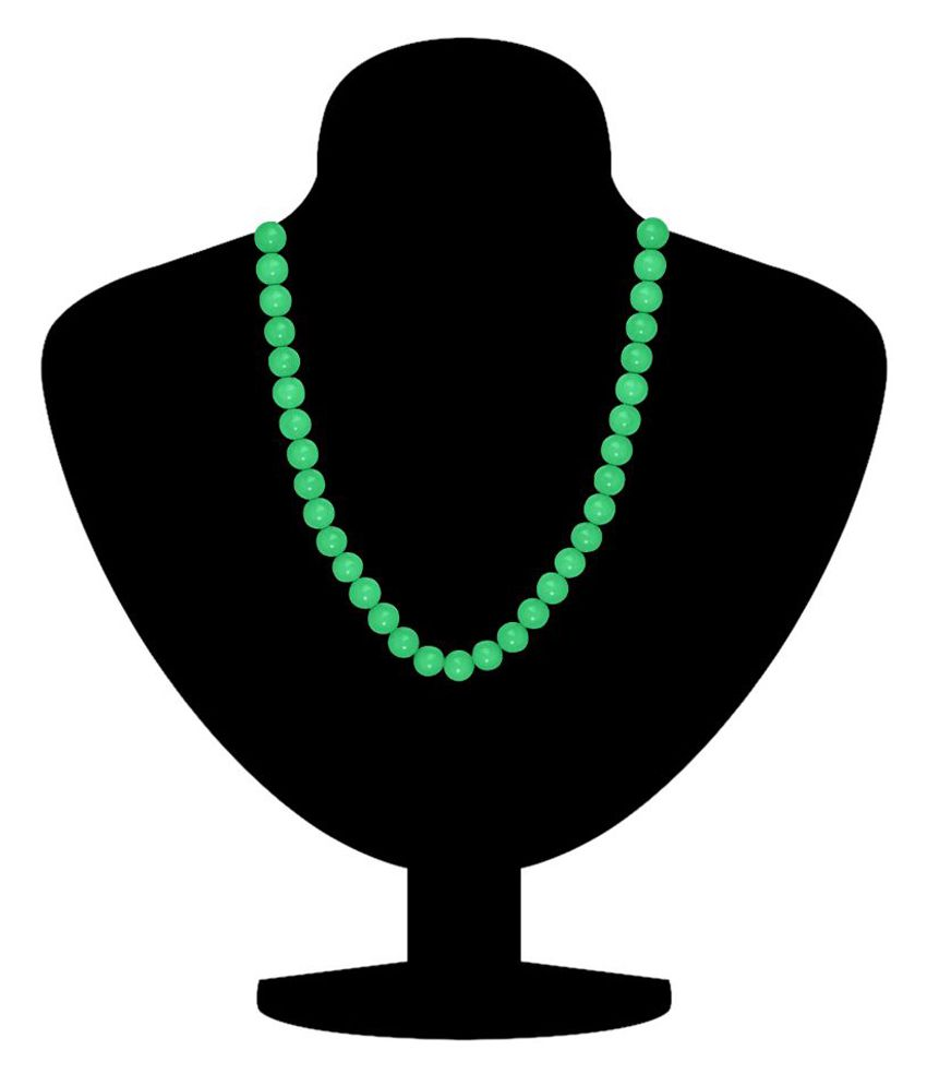 Mahi Brass Gold Plating Pearls Studded Green Coloured Necklace