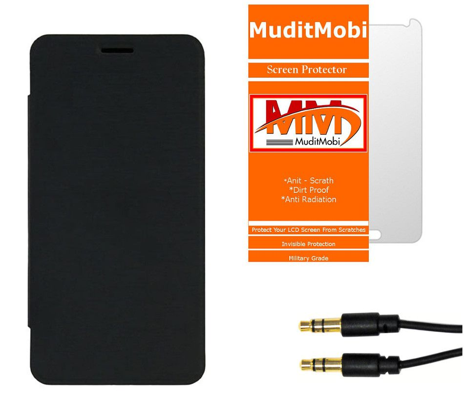 MuditMobi  Flip Cover With Screen Protector & Aux Cable For- Lenovo P780 - Black