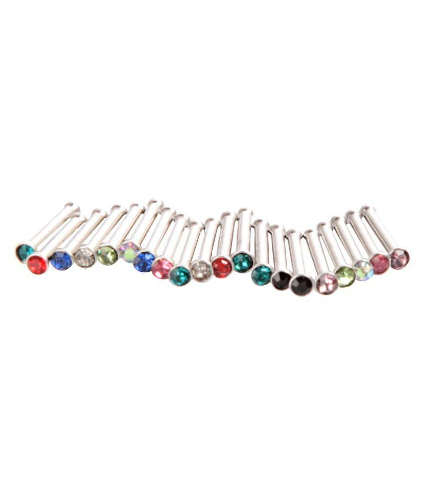 Style Tweak Alloy Silver Plating Studded Multi Coloured Nosepins Combo