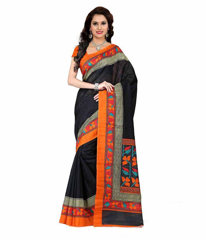 Ishin Black Bhagalpuri Silk Saree