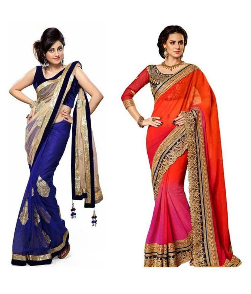 Janasya Style Multicolored Georgette Saree Combos