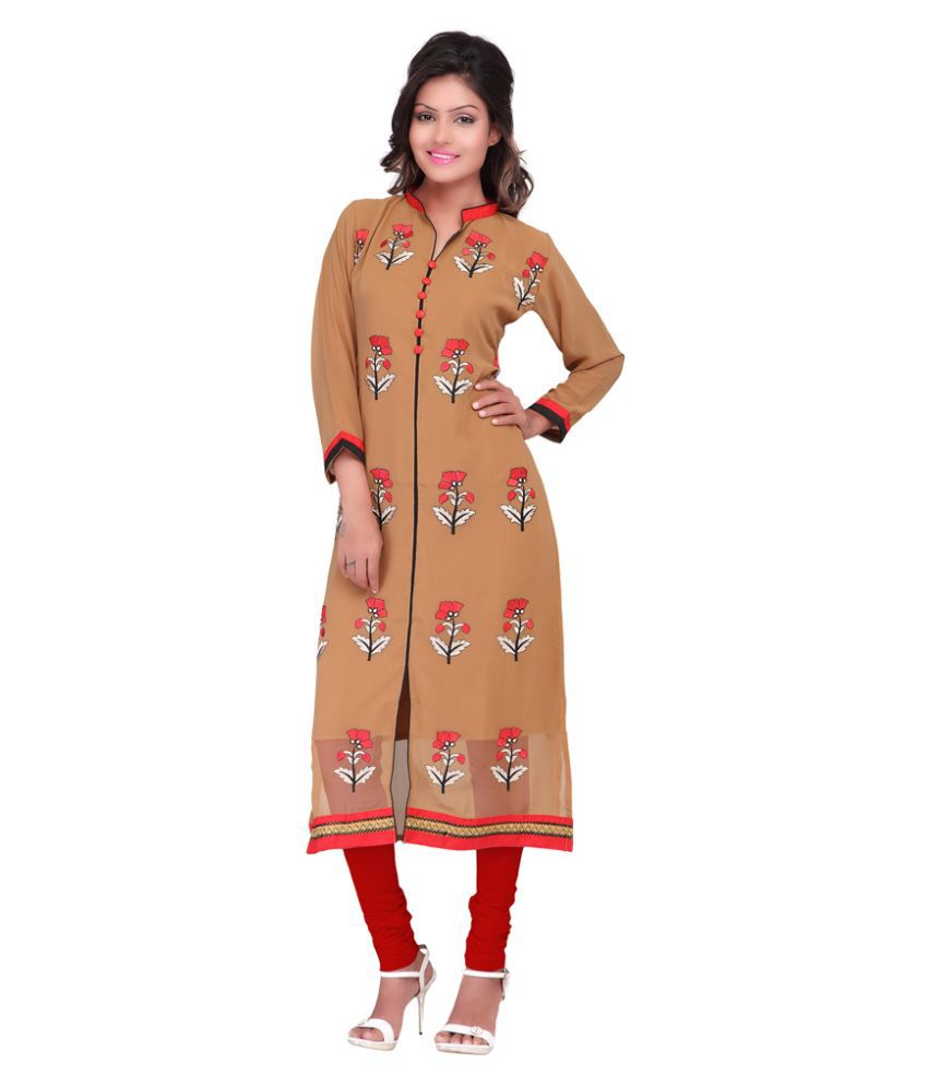 Patiala House Beige Georgette Straight Kurti