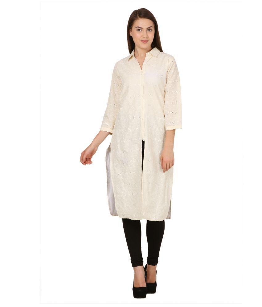 Atulya White Cotton Shirt style Kurti