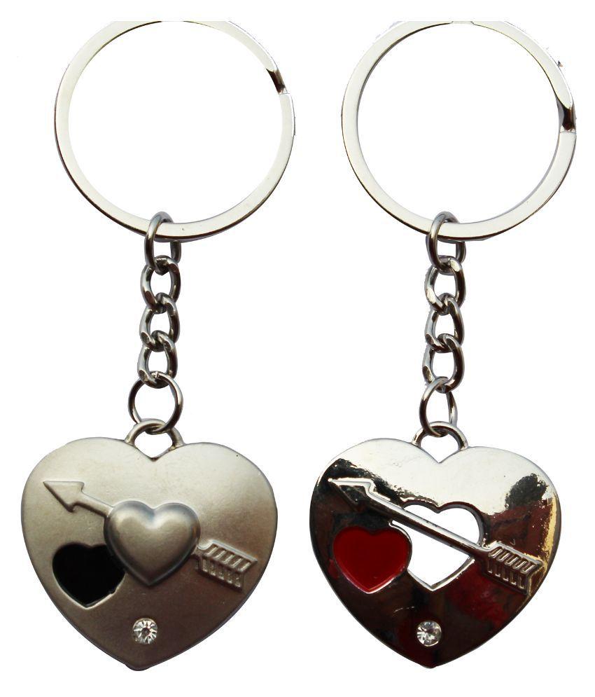 Anishop Cute Heart Arrow Metal Keychain for Men