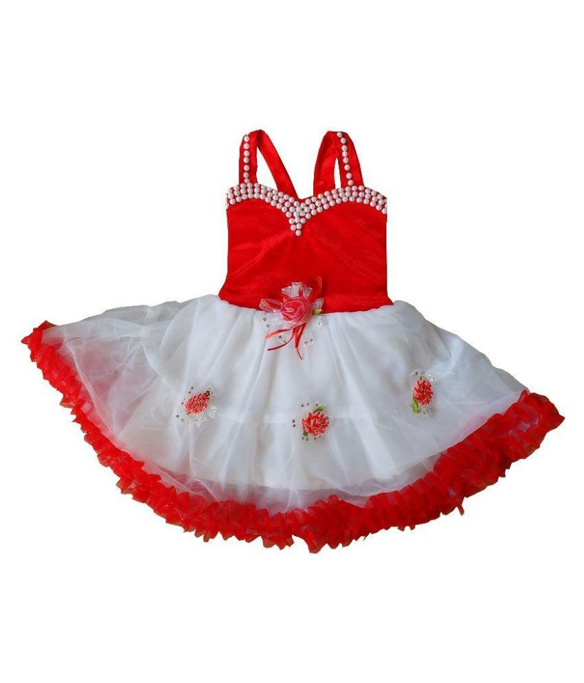 Cute Fashion Newborn Baby Girl Dress Princess Red Party Wear Flower Dresses Skirt Clothes