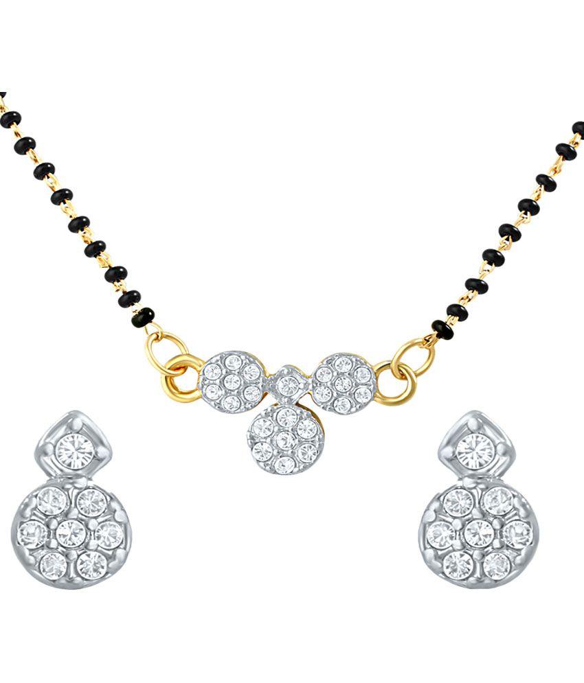 Mahi Brass 24 kt Gold Plating Cubiz Zirconia Studded White Coloured Mangalsutra Set