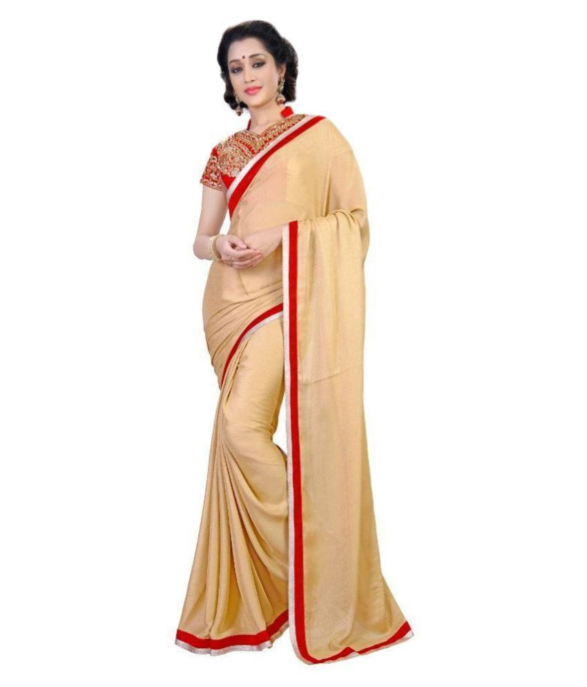 Silvermoon Fashion Beige Georgette Saree