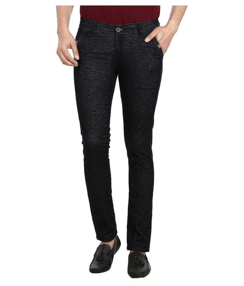 Figlio Black Slim Fit Solid Jeans
