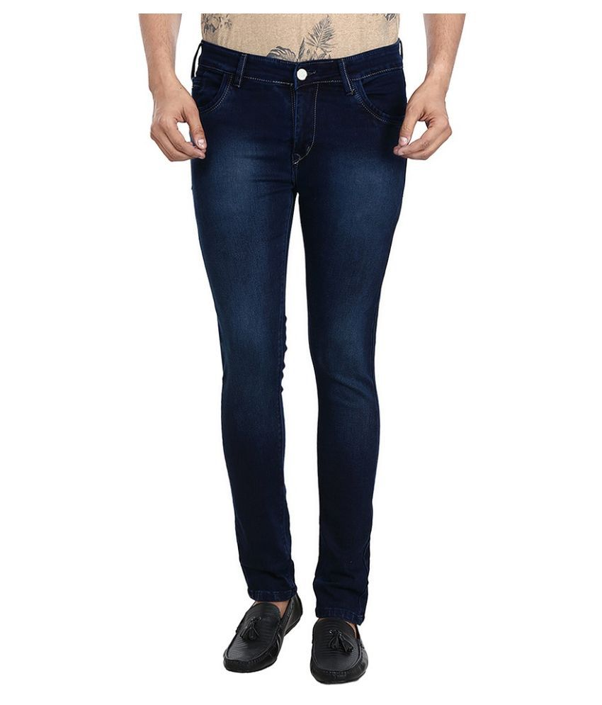 Figlio Navy Slim Fit Solid Jeans