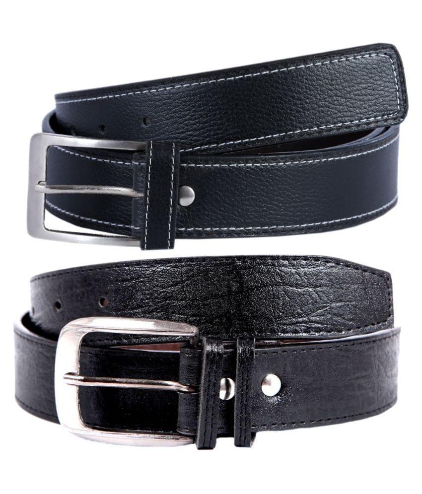 Kritika World Black Pin Buckle Belt for Men - Pack of 2