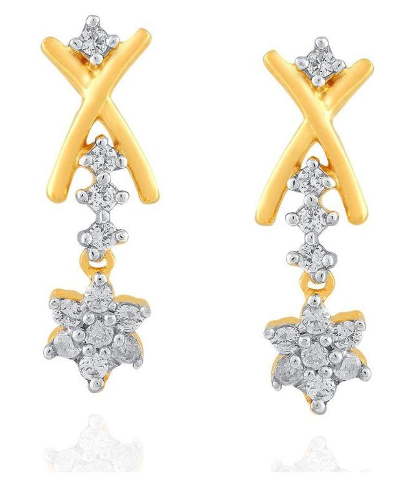 Nakshatra 18kt Yellow Gold Diamond Hangings
