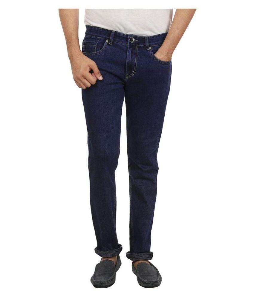 Sharc Blue Regular Fit Solid Jeans