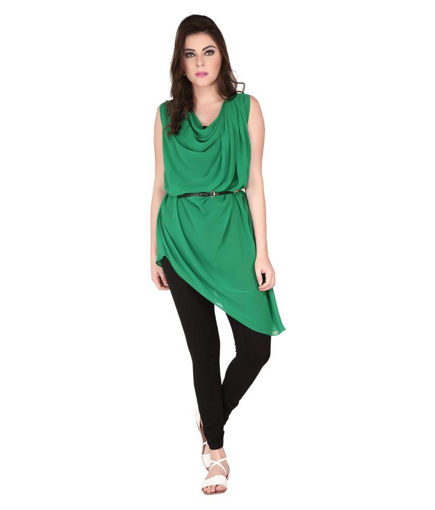 Soie Green Georgette Tunics