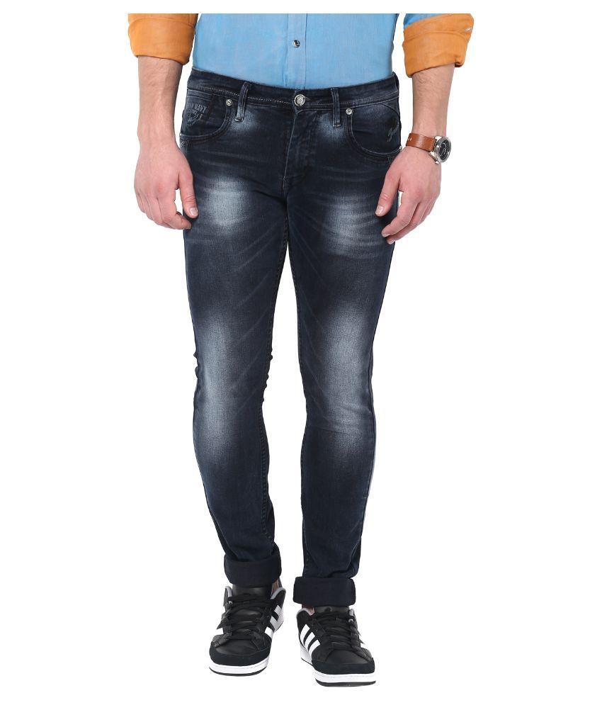 Urban Navy Black Slim Fit Solid Jeans