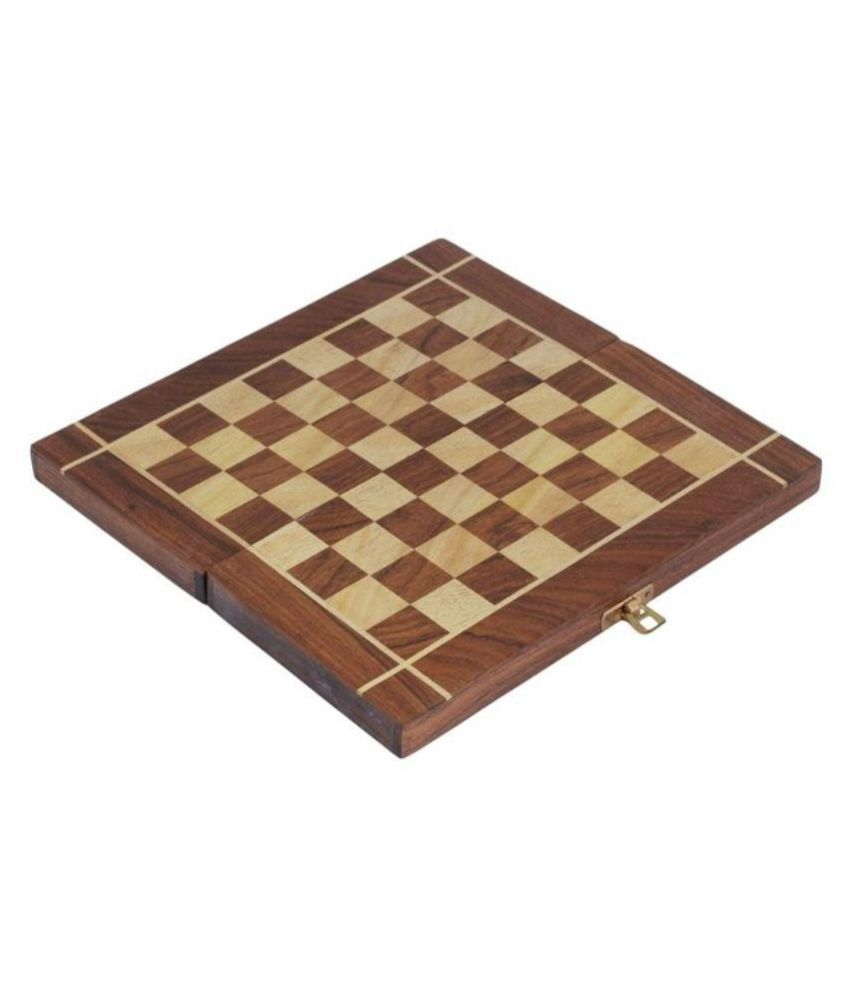 CE Square Brown Wooden Folding Chess Board Set