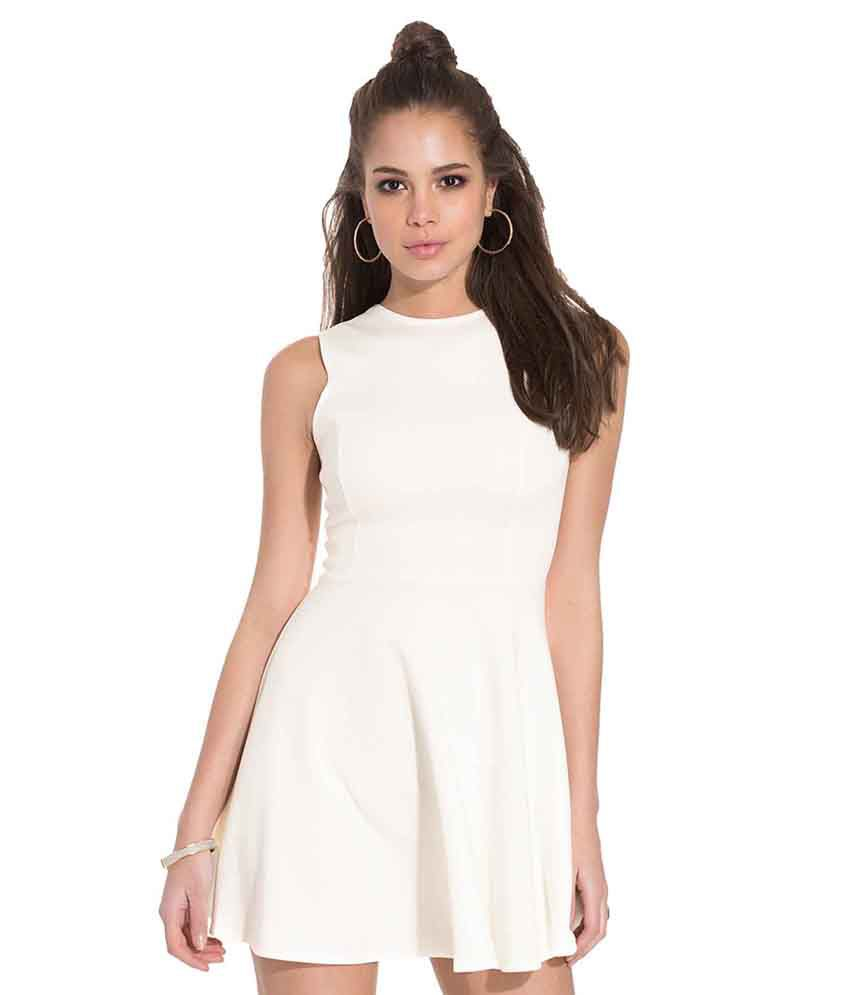ff3e6a0183e9 Klatch By Fabrica White Cotton Lycra Mini Dress - Buy Klatch By Fabrica  White Cotton Lycra Mini Dress Online at Best Prices in India on Snapdeal