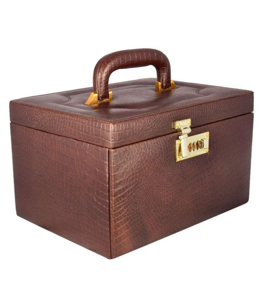 Laveri Leather Studded Brown Coloured Jewellery Box
