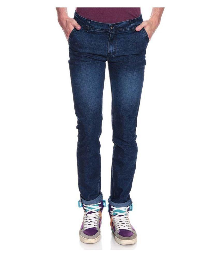 Fashion Blue Regular Fit Faded Jeans