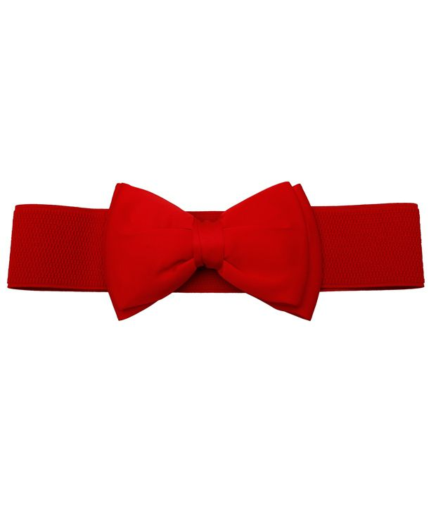 Stylehoops Red Bow Elastic Broad Leather Belt
