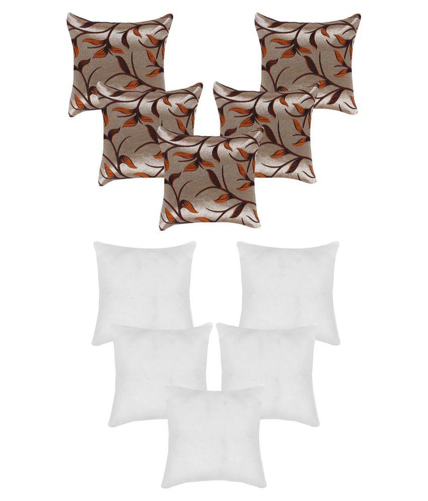 A.P. Handloom Multicolour Floral Jute Cushion Covers - Set of 10