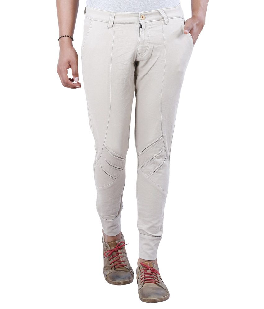 Avid Off-White Slim Fit Flat Trousers