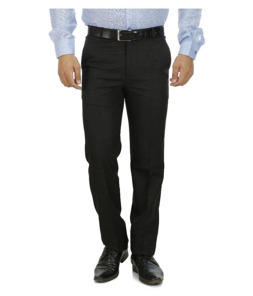 Shadow Black Regular Flat Trouser