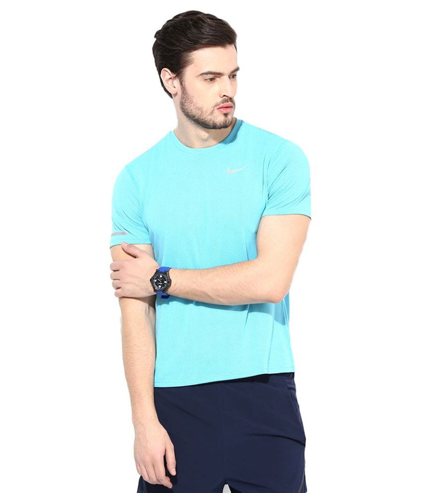 Nike Blue Polyester T-Shirt