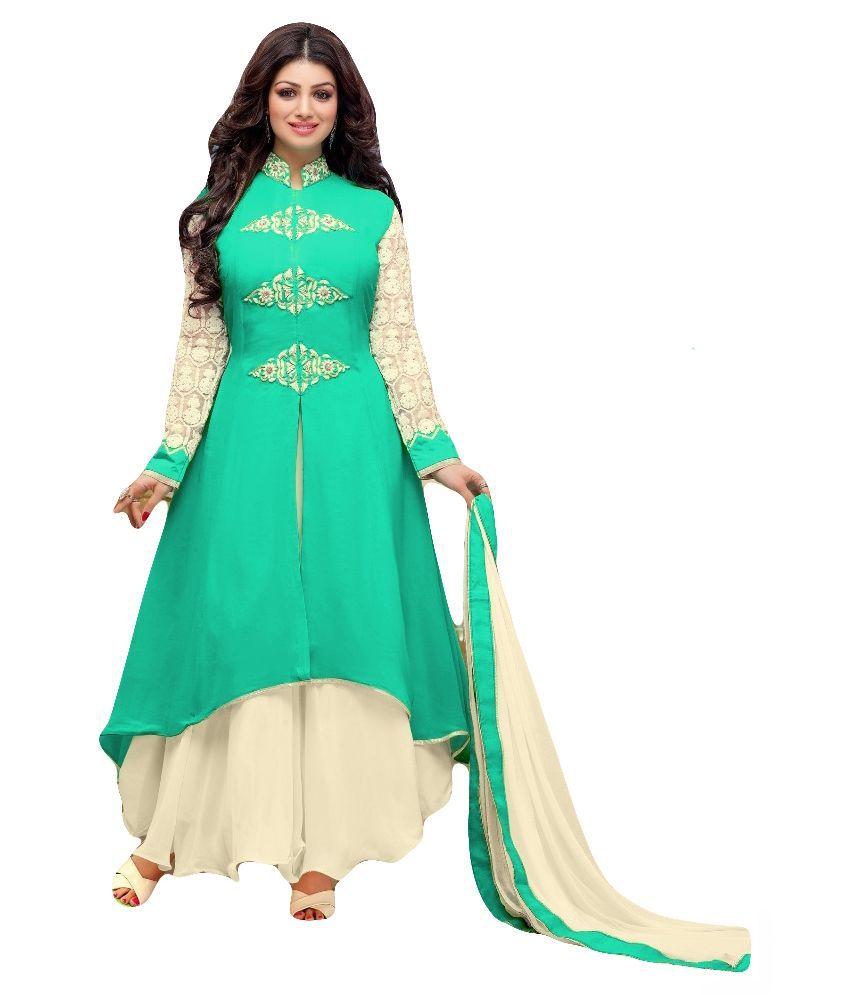 70515c8dfcdb Sitaram Turquoise Georgette Anarkali Semi-Stitched Suit - Buy Sitaram  Turquoise Georgette Anarkali Semi-Stitched Suit Online at Best Prices in  India on ...