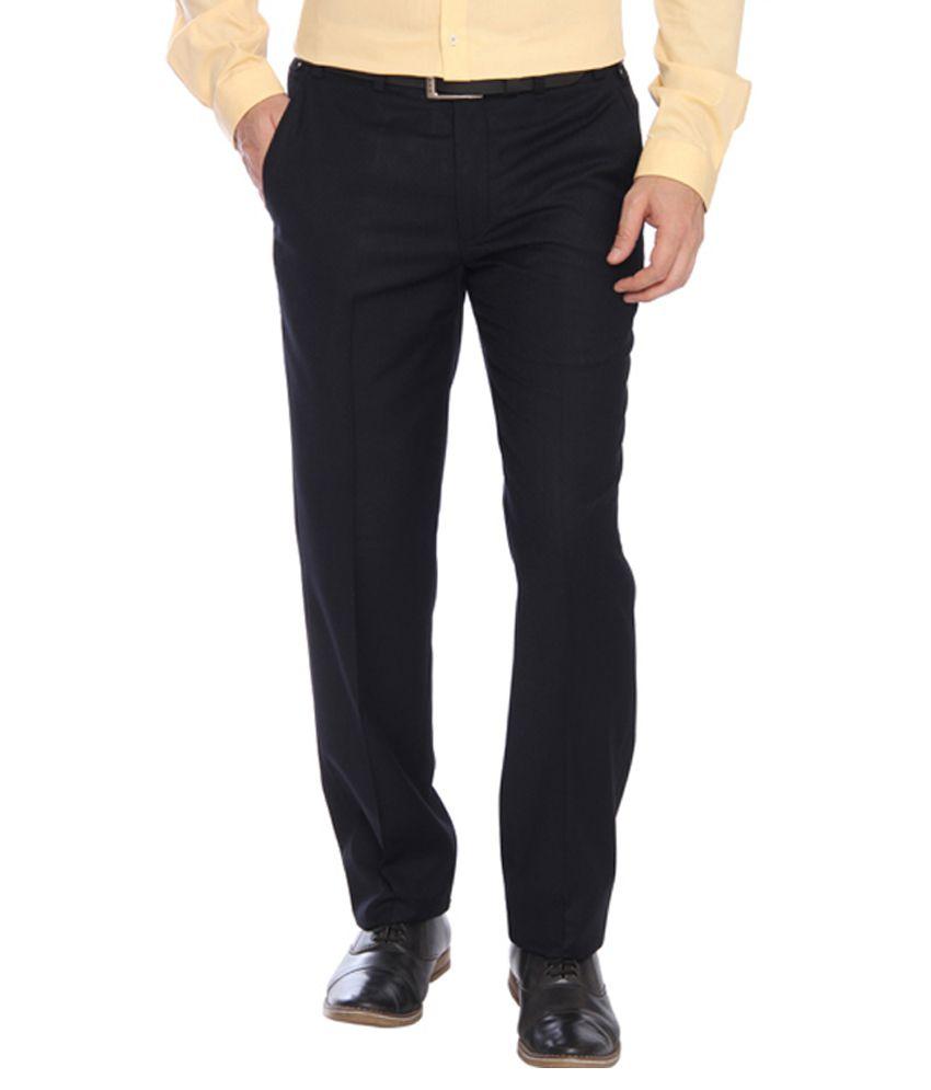 Park Avenue Black Regular Fit Flat Trousers