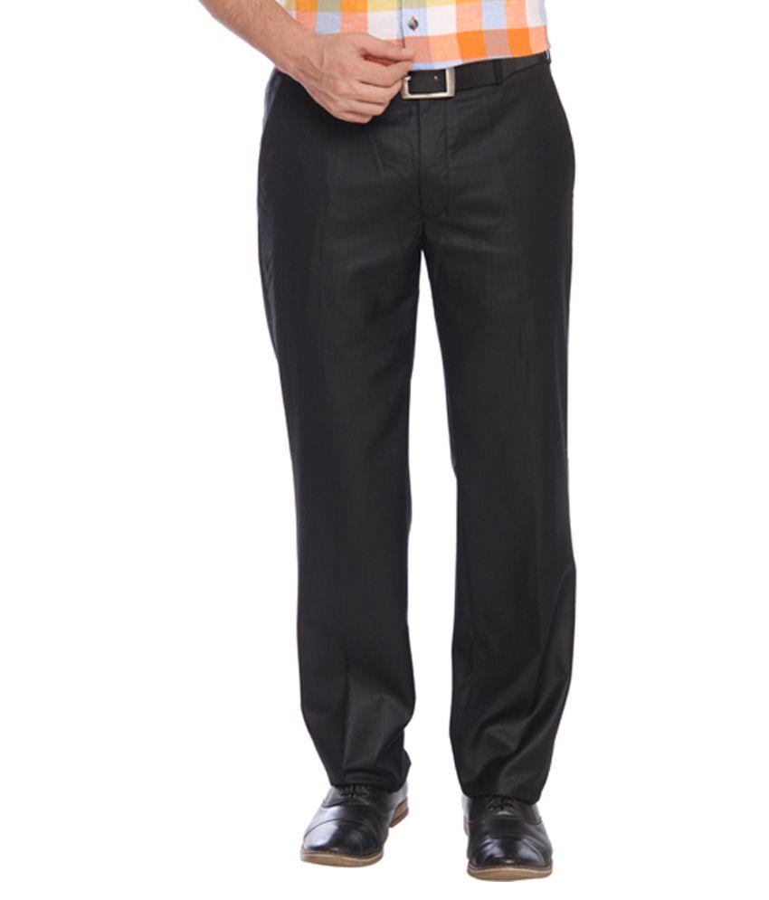 Park Avenue Black Slim Fit Flat Trousers