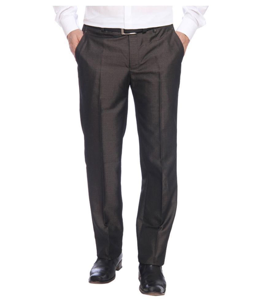 Park Avenue Brown Slim Fit Flat Trousers