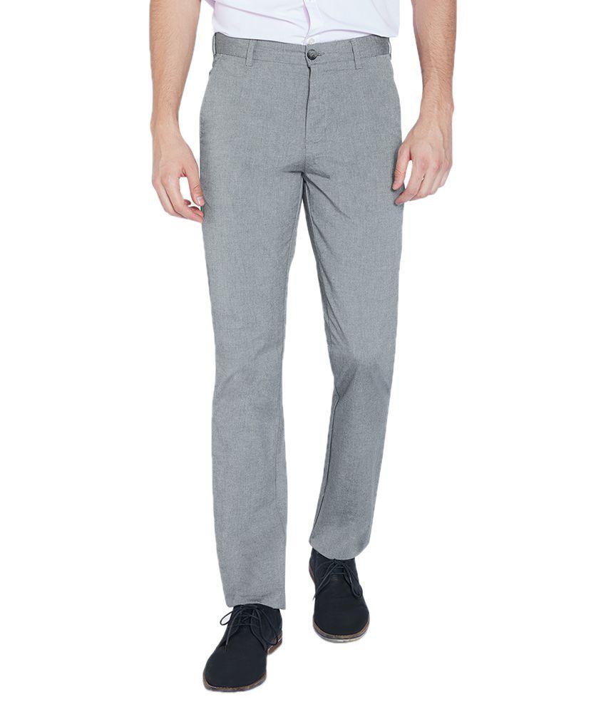 Parx Grey Slim Fit Flat Trousers