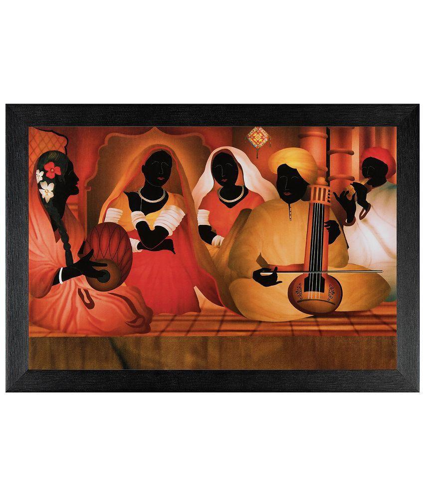 JAF Multicolour Folk Art Painting with Frame