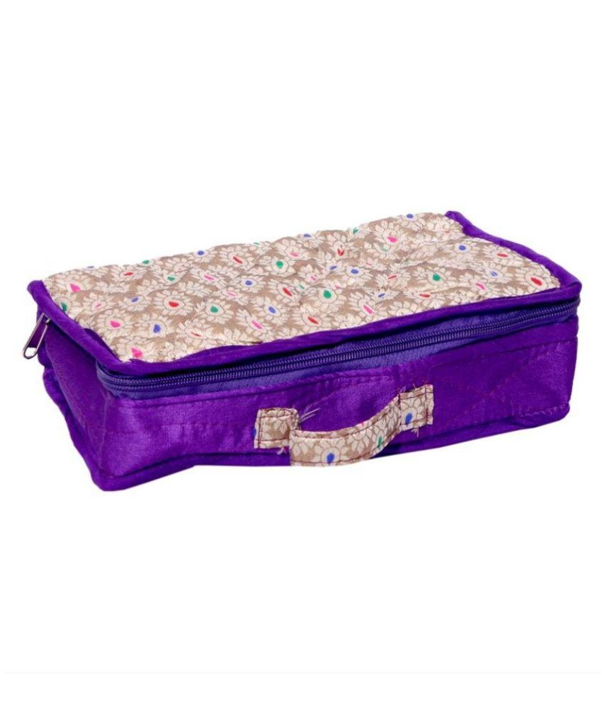 Kuber Industries Fabric Studded Purple Coloured Jewellery Box