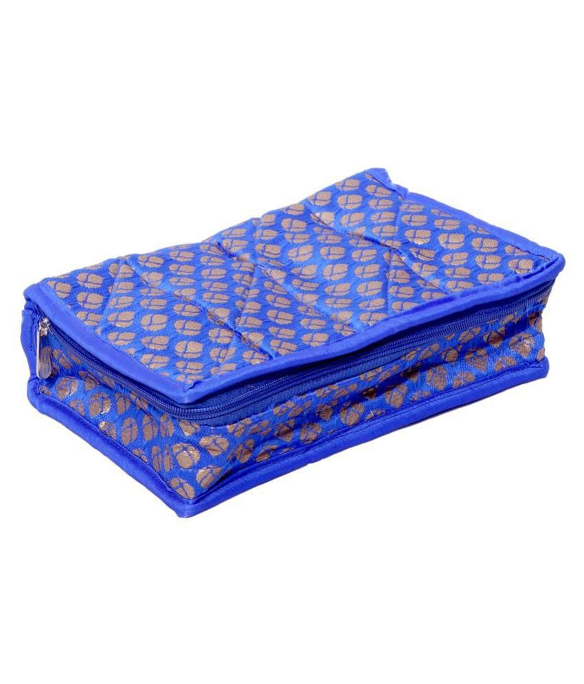 Kuber industries Fabric Studded Blue Coloured Jewellery Box