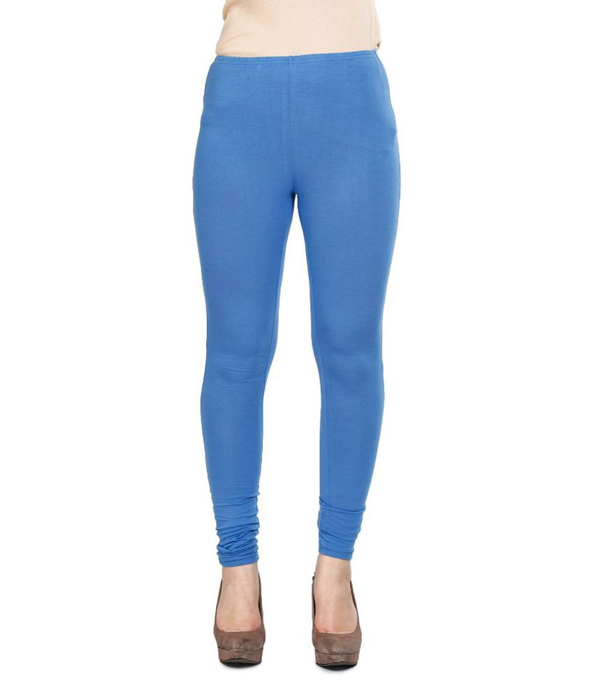 Mustard Blue Cotton Lycra Leggings