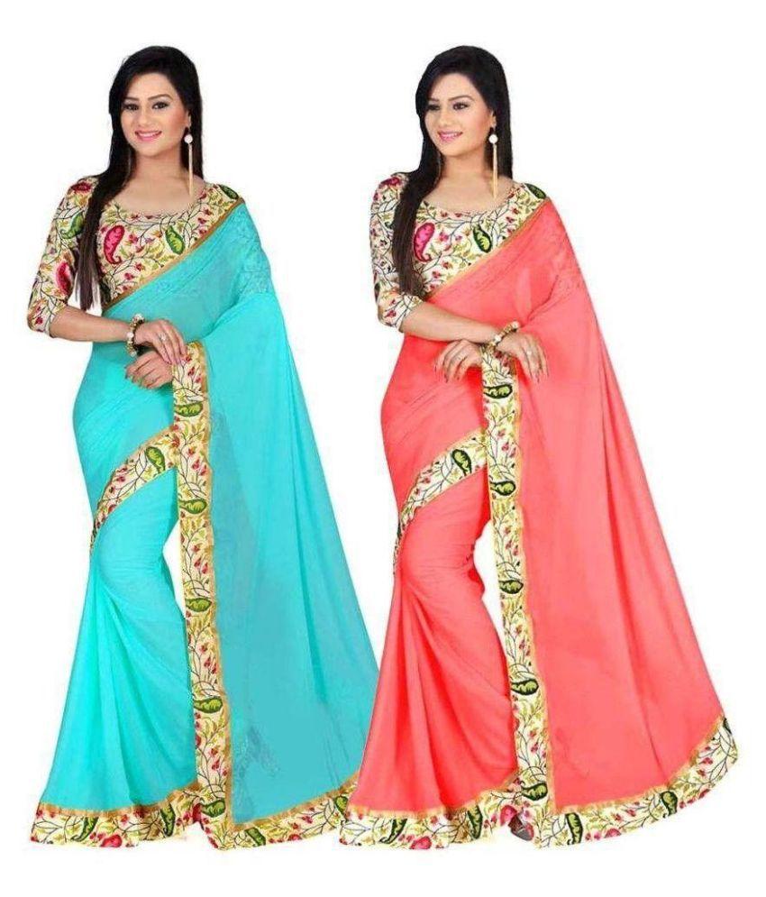 New Designer Saree Multicoloured Bhagalpuri Silk Saree Combos