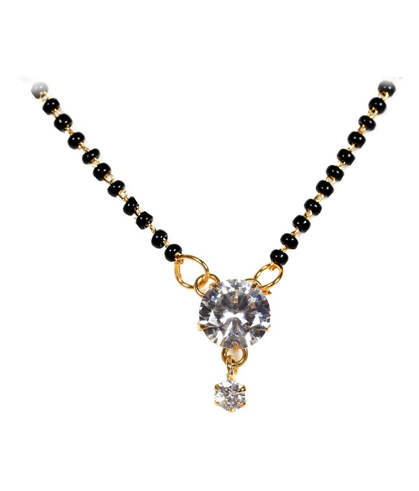 Spaira Alloy Rhodium Plating American diamonds Studded Multi Coloured Mangalsutra