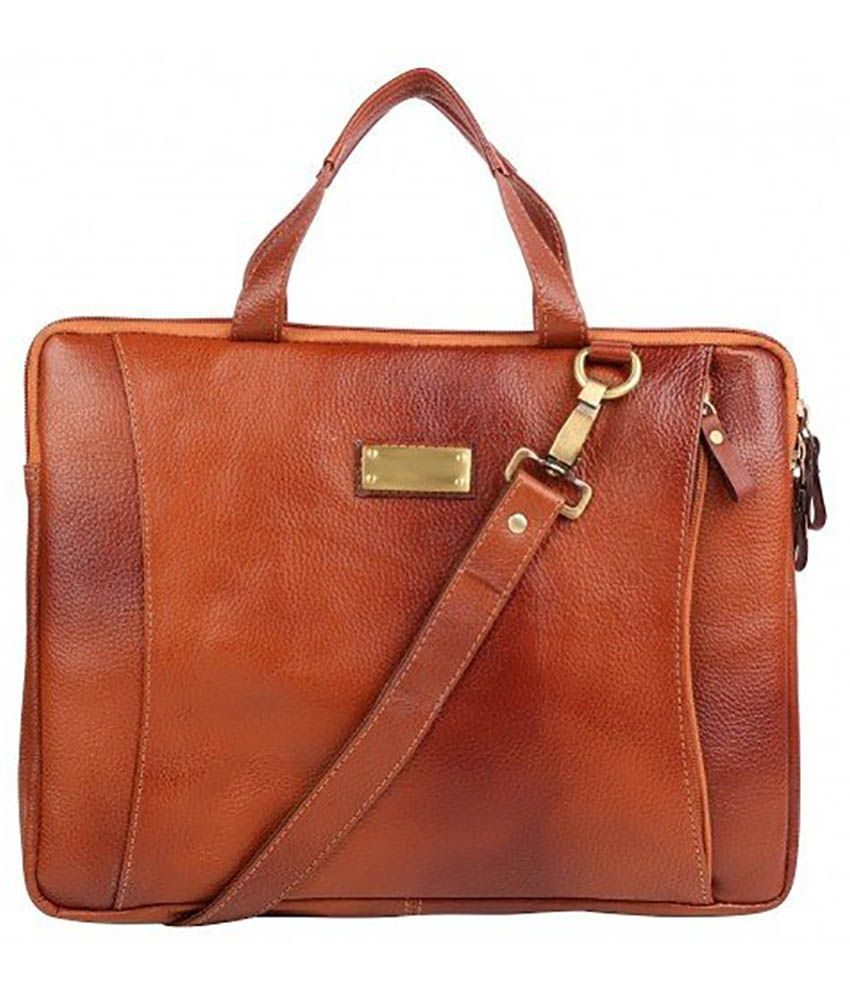 Umda Brown Leather Laptop Sleeve