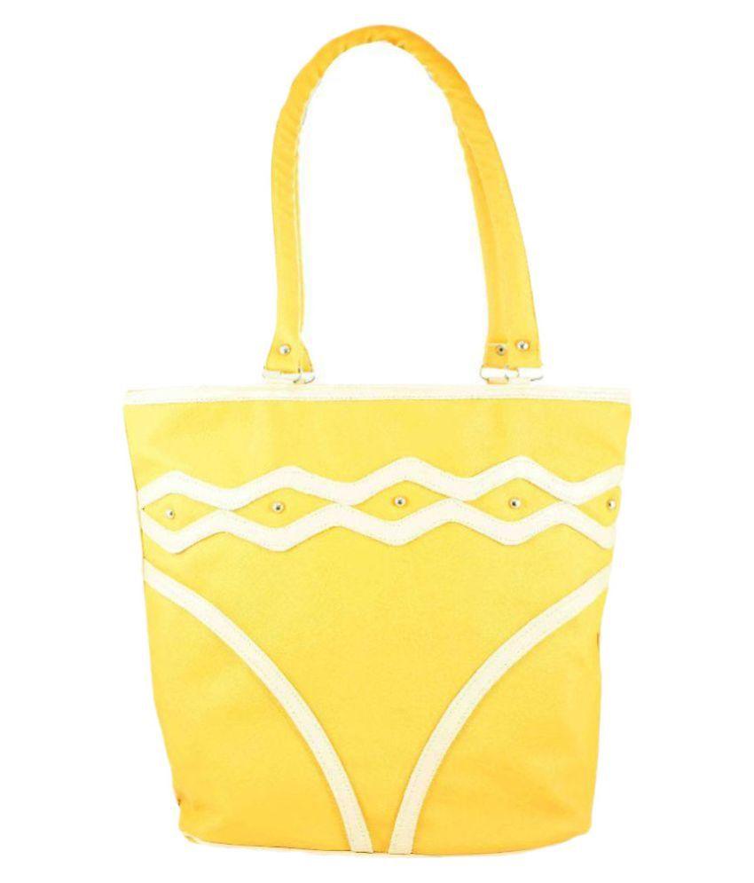 Raju Purse Yellow Fabric Tote Bag